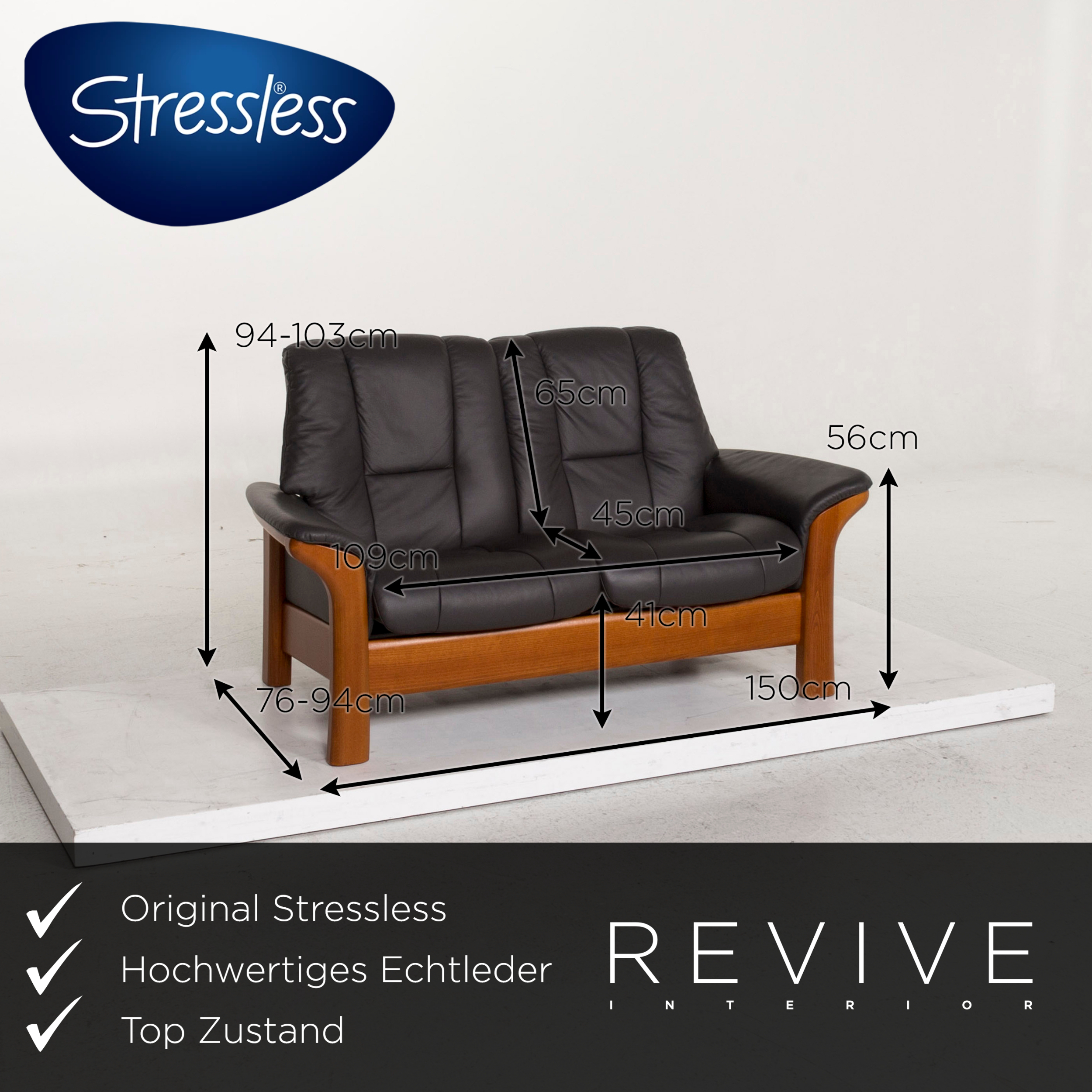 Stressless Buckingham Leder Sofa Anthrazit Grau Holz ...