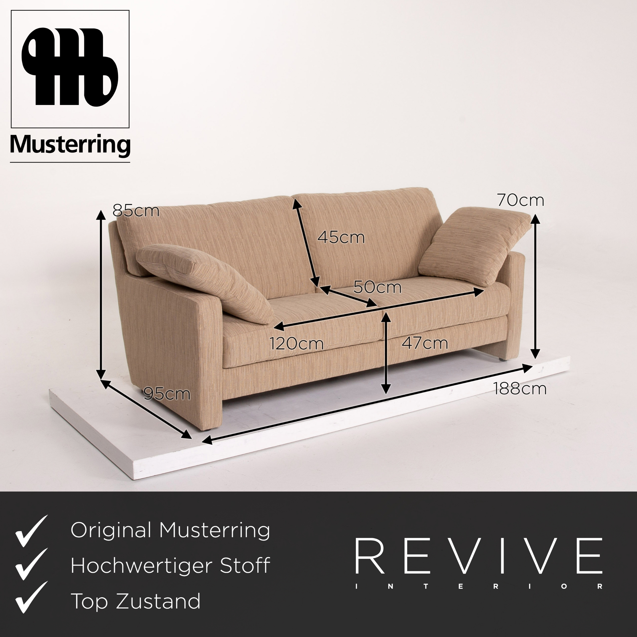 Musterring Stoff Sofa Creme Cappuccino Zweisitzer Couch ...