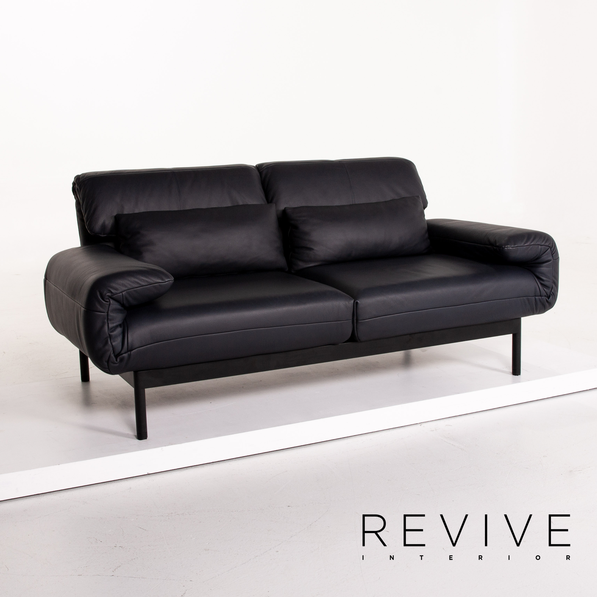 Picture of: Rolf Benz Plura Leather Sofa Dark Blue Two Seater Function Sofa Bed Ebay